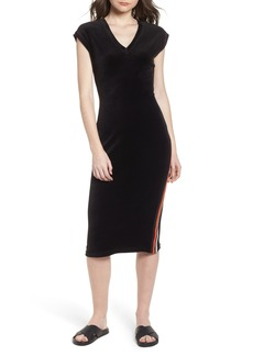 Juicy Couture Fitted Stretch Velour Midi Dress