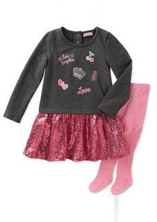 Juicy Couture Girls' Dress and Tight Set Charcoal Grey Heather Swizzle/Pink Sand