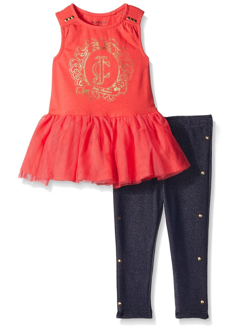 Juicy Couture  Girls' Jersey with Knit Mesh Accent Top and Leggings