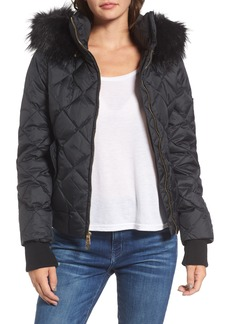 Juicy Couture Hooded Puffer Jacket with Faux Fur Trim