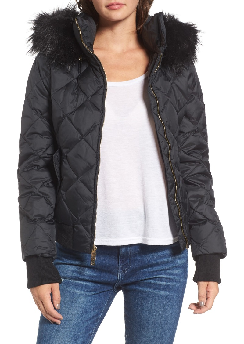 670972520b Juicy Couture Juicy Couture Hooded Puffer Jacket with Faux Fur Trim ...