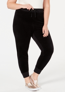 Juicy Couture Trendy Plus Size Zuma Velour Jogger Pants
