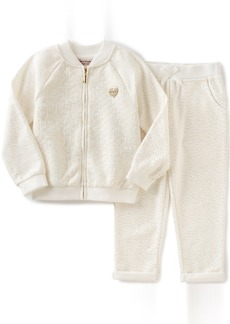 Juicy Couture Little Girls' 2 Piece Quilted Metallic Knit Jacket and Pant Set