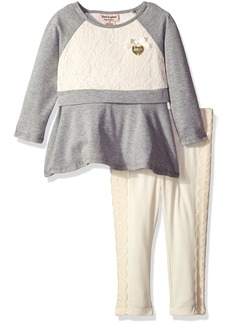 Juicy Couture Little Girls' 2 Piece Tunic and Pant Set with Lace Trim
