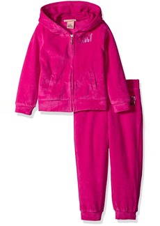 Juicy Couture Little Girls' 2 Piece Velour Hooded Jacket and Pant Set