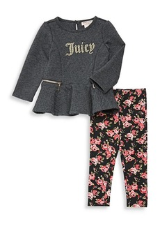 Juicy Couture Little Girl's Peplum Top and Floral Legging Set
