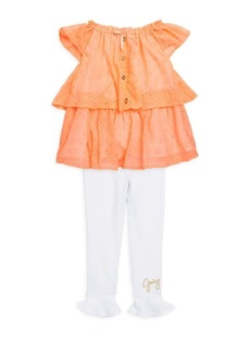 Juicy Couture Little Girl's Tiered Blouse & Ruffle-Hem Leggings Set