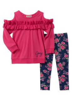 Juicy Couture Little Girl's Two-Piece Cold-Shoulder Tunic and Floral Leggings Set