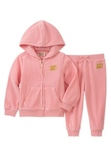 Juicy Couture Little Girl's Two-Piece Embellished Wordmark Velour Hoodie & Pants Set