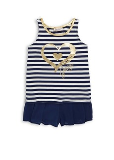 Juicy Couture Little Girl's Two-Piece Graphic Tank Top and Pleated Shorts Set