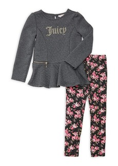 Juicy Couture Little Girl's Two-Piece Quilted Tunic & Floral-Print Leggings