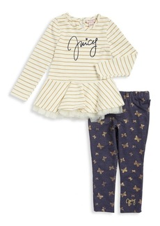 Juicy Couture Little Girl's Two-Piece Striped Tee and Pants Set