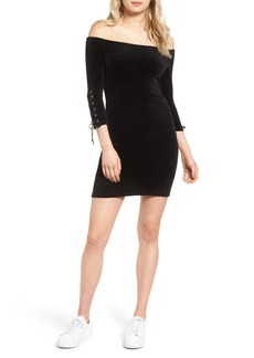 Juicy Couture Off the Shoulder Stretch Velour Body-Con Dress