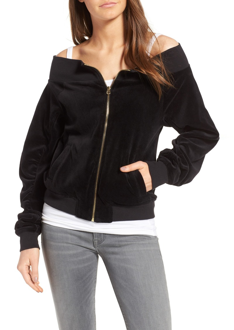 9f453563 Juicy Couture Juicy Couture Off the Shoulder Velour Track Jacket ...