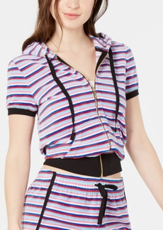 Juicy Couture Striped Cropped Zip Hoodie