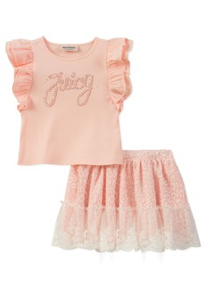 Juicy Couture Girls' Toddler 2 Pieces Skirt Set