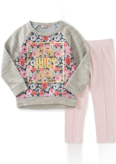 Juicy Couture Little Girls' Toddler French Terry Flower Print Top and Pant Set