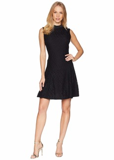 Juicy Couture Knit Abstract Lace Tie Neck Dress