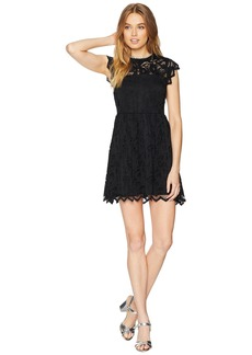Juicy Couture Knit Baroque Floral Lace Dress w/ Embroidered Neck