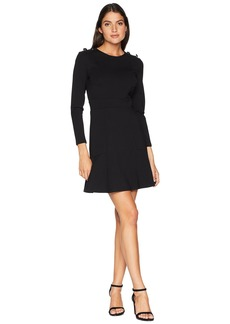 Juicy Couture Knit Fit and Flare Ponte Dress with Button Shoulder