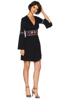 Juicy Couture Knit Matte Jersey Embroidered Crossover Dress