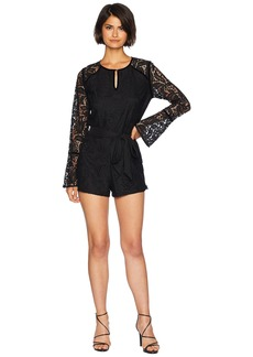 Juicy Couture Knit Two-Tone Leafy Lace Romper
