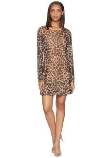Juicy Couture Leopard Print Drop Waist Bell Sleeve Dress