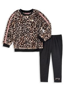 Juicy Couture Little Girl's 2-Piece Leopard-Print Sweater & Graphic Leggings Set