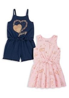 Juicy Couture Little Girl's 2-Piece Stretch-Cotton Romper & Dress Set