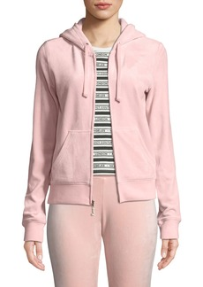 Juicy Couture Robertson Zip-Front Luxe Velour Track Jacket