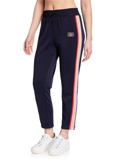 Juicy Couture Side-Snap Rainbow Striped Track Pants
