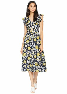Juicy Couture Silk Garden Floral Midi Dress