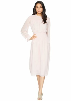 Juicy Couture Smocked Embroidered Georgette Midi Dress