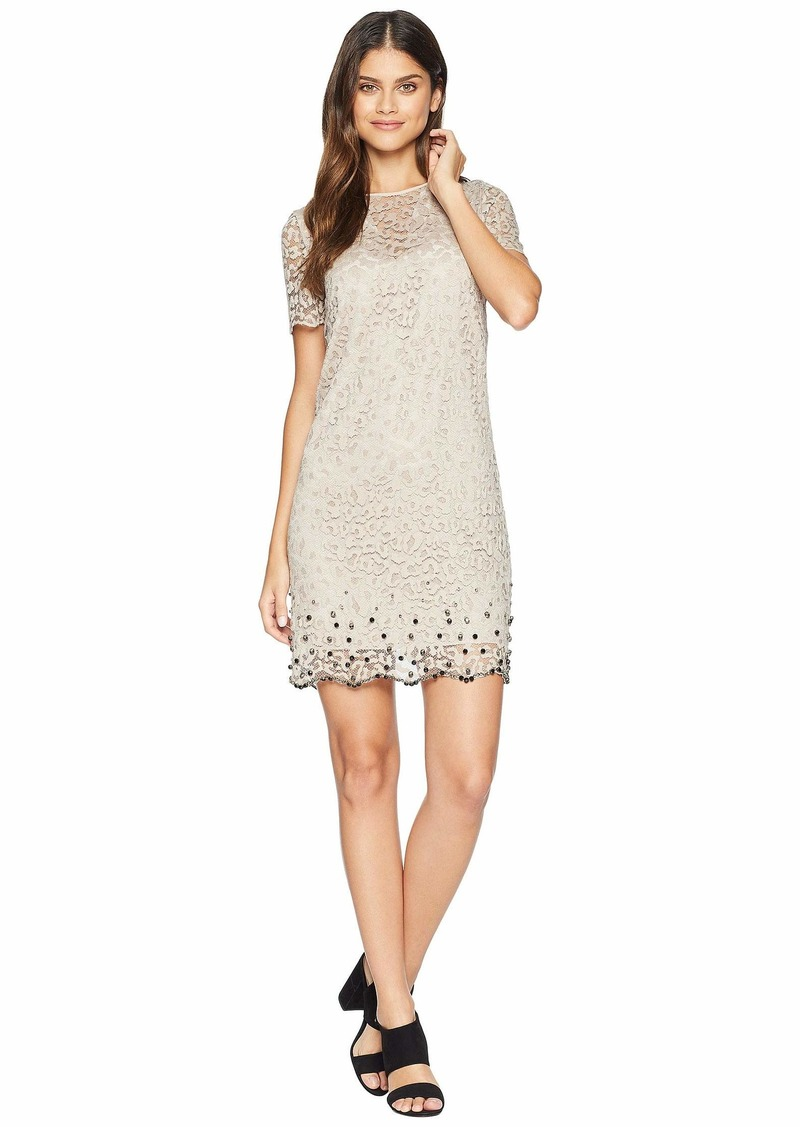 9488e1120a928 Juicy Couture Soft Woven Leopard Lace Embellished Shift Dress