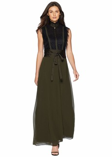 Juicy Couture Soft Woven Scallop Lace w/ Georgette Maxi Dress
