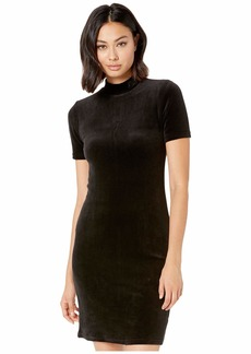 Juicy Couture Stretch Velour Mock Neck Track Dress