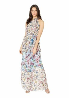 Juicy Couture SW Floral Print Mix Pleated Maxi Dress