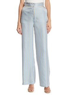 Juicy Couture Ticking-Striped Silk-Twill Wide-Leg Pants