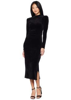 Juicy Couture Track Stretch Velour Mock Neck Midi Dress