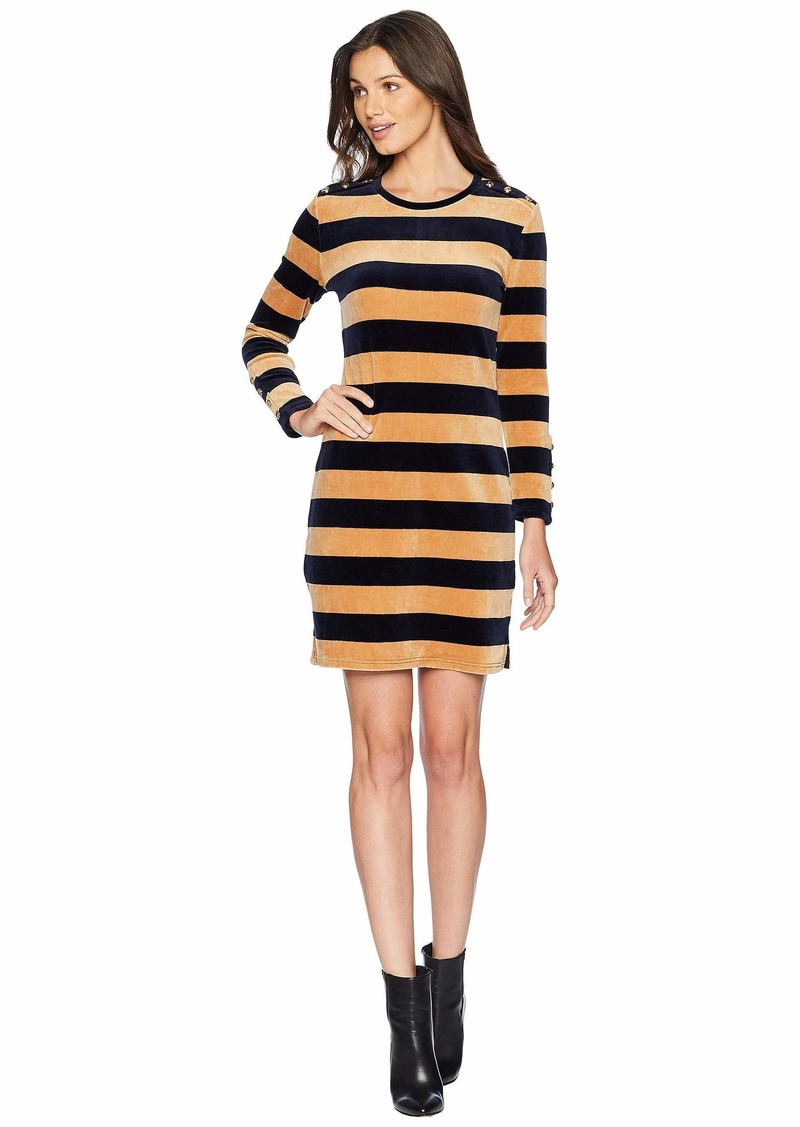 6aef22f794f1 Juicy Couture Track Stretch Velour Striped Fitted Dress