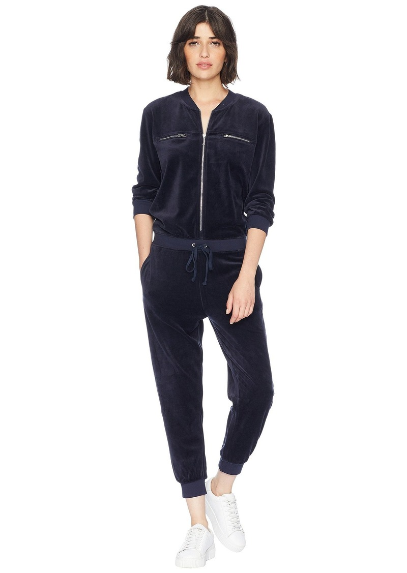 a81a3ca888e9 Juicy Couture Track Velour Encrusted JC Long Sleeve Jumpsuit ...