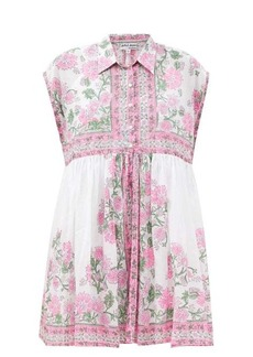 Juliet Dunn Floral-print cotton-voile mini shirt dress