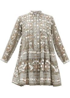 Juliet Dunn Embroidered and mirror-appliqué cotton dress