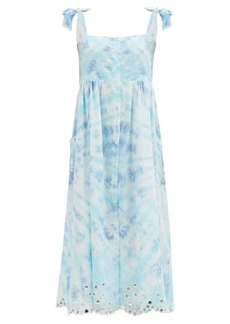 Juliet Dunn Floral-embroidered tie-dyed cotton midi dress
