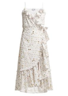Juliet Dunn Gold leaf print ruffled wrap dress