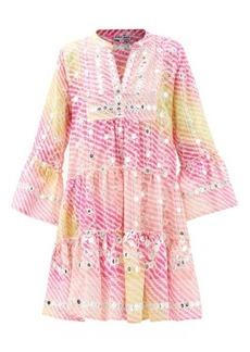 Juliet Dunn Mirror-work tiered gauze dress