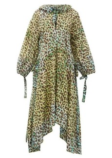 Juliet Dunn Neck-tie leopard-print cotton dress