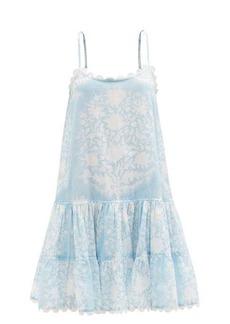 Juliet Dunn Palladio block-print cotton-poplin trapeze dress
