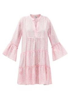 Juliet Dunn Pintucked floral-print cotton dress