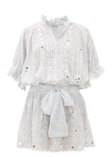 Juliet Dunn Sequinned printed cotton shirtdress